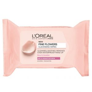 L'OREAL PARIS FINE FLOWERS CLEANSING WIPES DRY & SENSITIVE SKIN