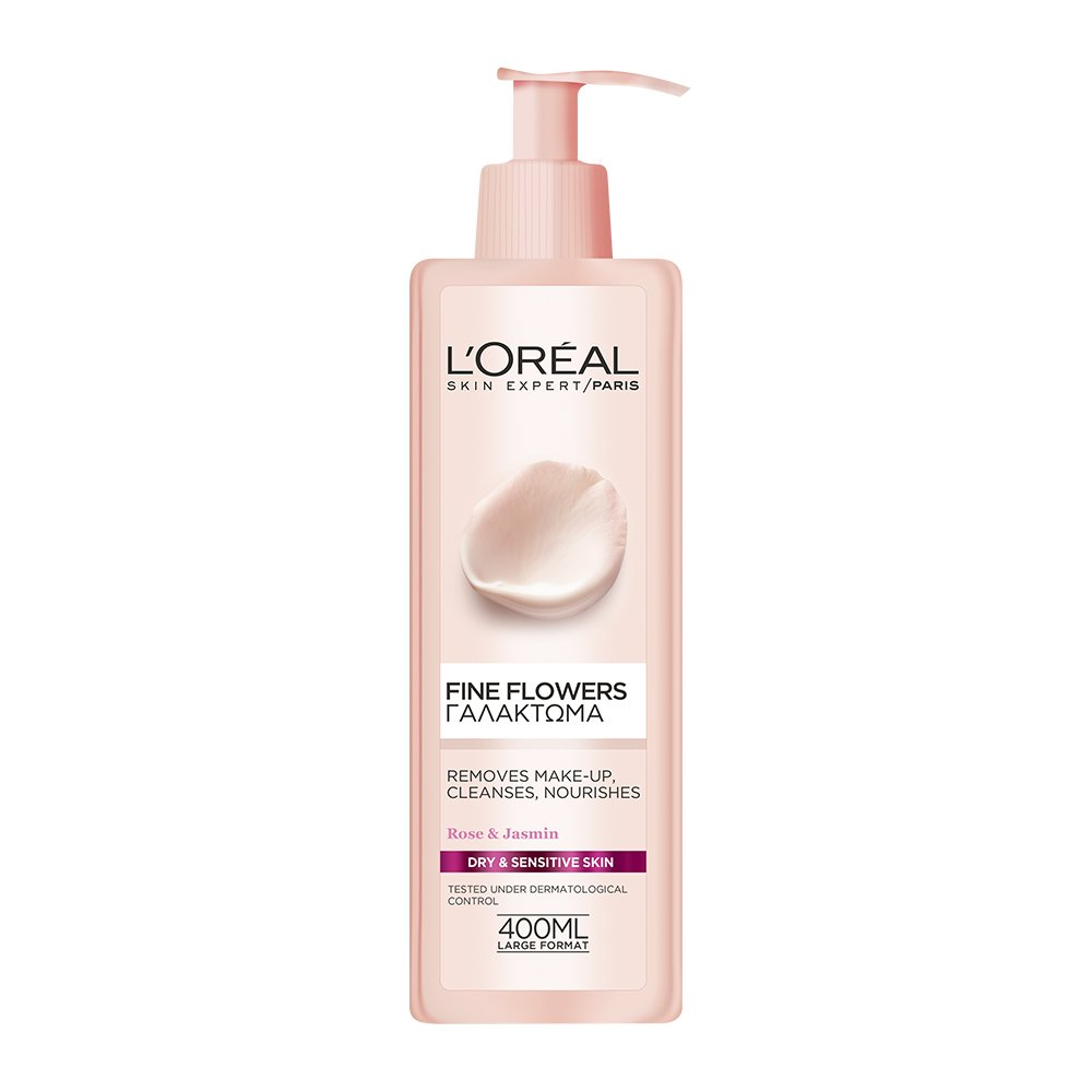 L'OREAL PARIS FINE FLOWERS CLEANSING MILK FOR DRY/SENSITIVE SKINS