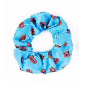 BLEECKER & LOVE Lips Blue Scrunchie